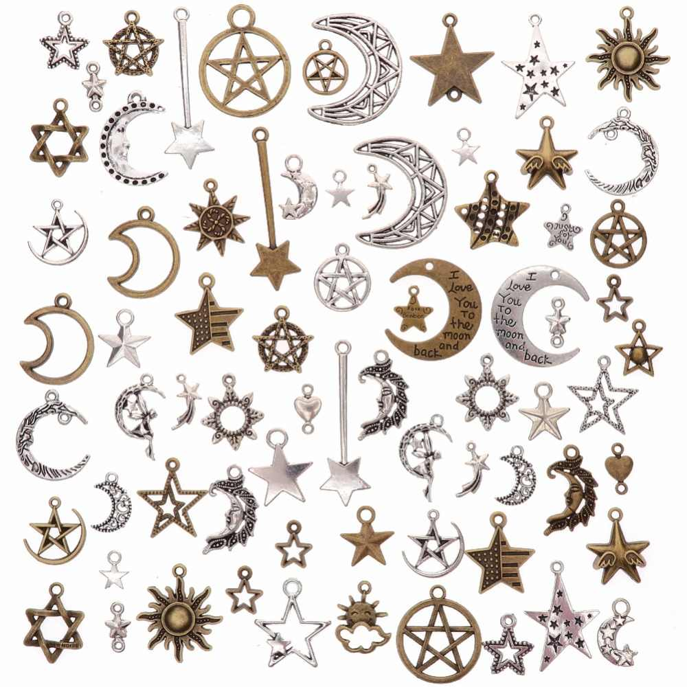 73Pcs/Set Vintage Metal Mixed Star Moon Charms DIY Handmade Fashion Retro Pentagram Pendant Charms for Jewelry Making