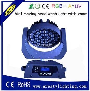 2 piezas/lote 36 piezas * 18 W 6 in1 RGBWAUV Zoom luz Led cabeza móvil DMX512 18 canales 90 V-240 V Led cabeza móvil iluminación de escenario
