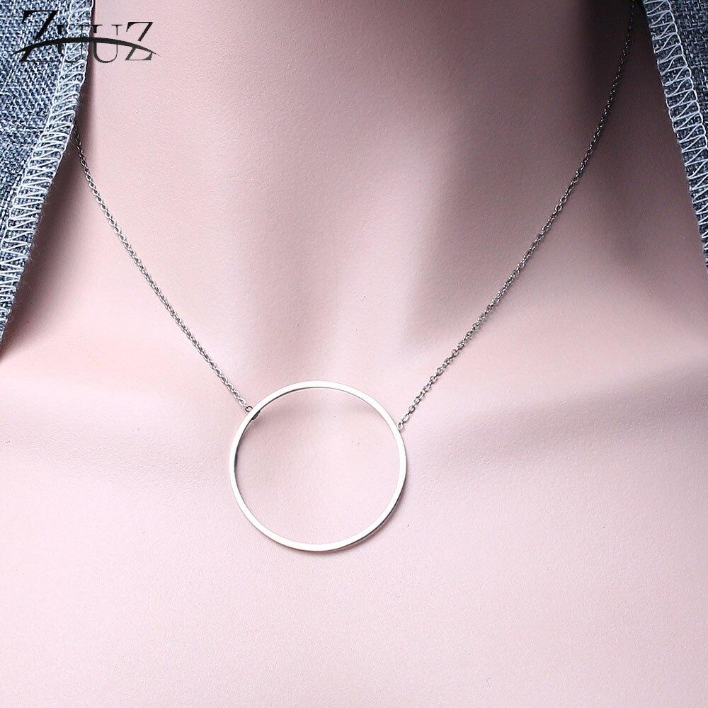 ZUUZ minimalism silver stainless steel chain choker circle best friends pendant necklace women accessories chocker neckless(China)