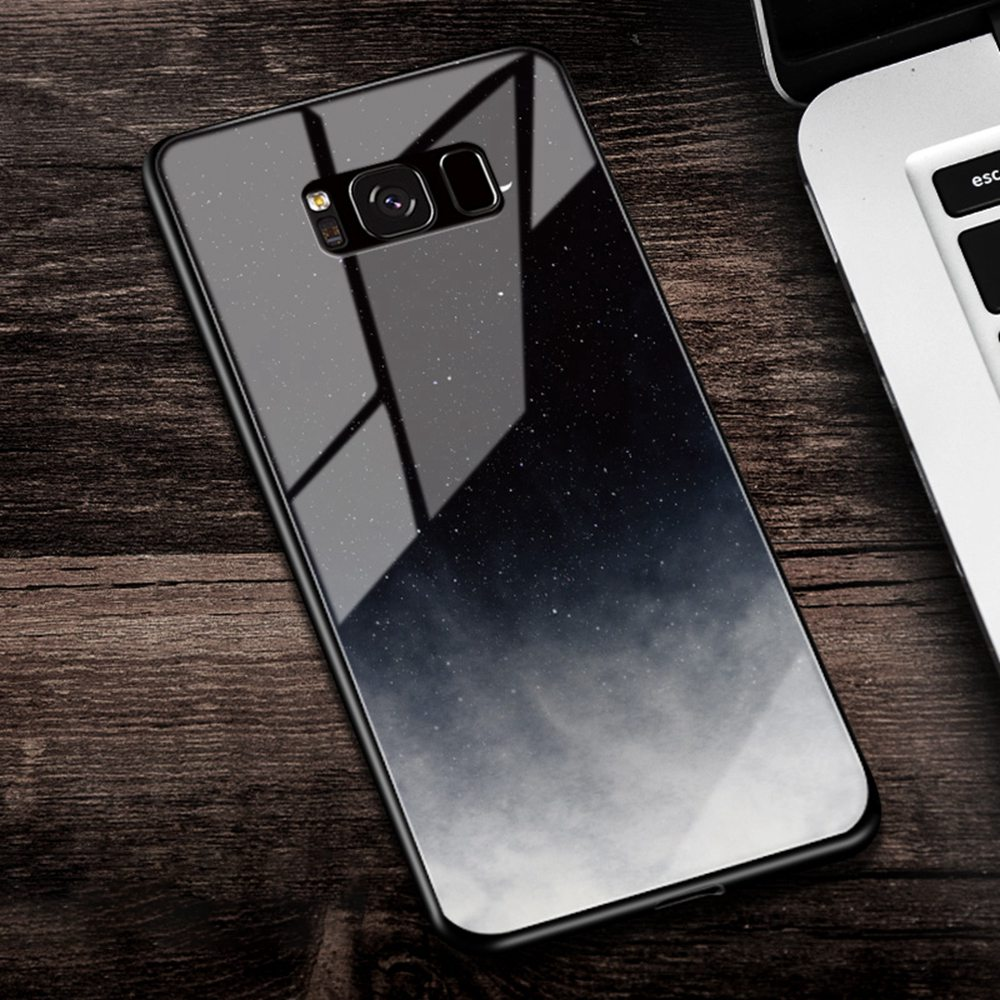 Eqvvol Tempered Glass Space Phone Case For Samsung Galaxy Note 8 9 S8 S9 Plus S7 Edge Soft Cases Starry Moon Painted Cover Coque