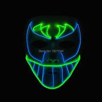 New design Trendy terror glowing EL wire Hiphop Mask,Night bat face Mask LED Neon Glowing Party Halloween Supplies
