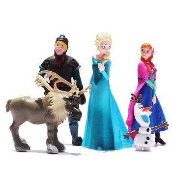 Замороженные Disney Принцесса Эльза Анна Олаф цифры Модель 5 шт./компл. Эльза девушки куклы предпочтительным подарочный набор детский день рож...