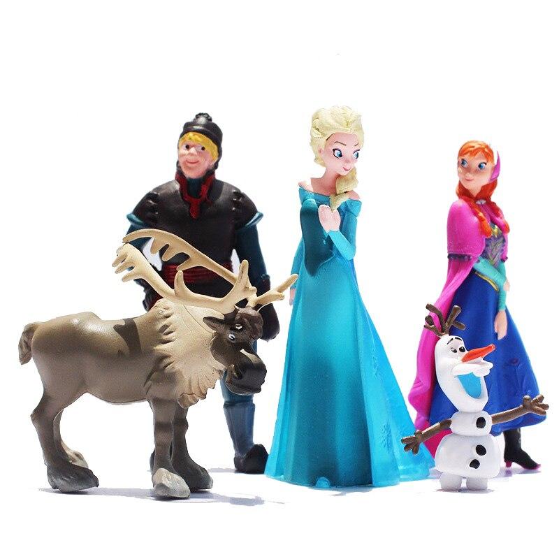 Gefrorene Disney Prinzessin Elsa Anna Olaf Figuren Modell 5 Teile/satz Elsa Mädchen Puppe Spielzeug Bevorzugten Geschenk Set Kinder Geburtstag Weihnachten