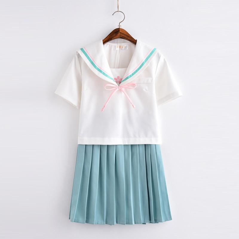 UPHYD High Quality Kawaii School Uniform JK Uniforms White College Wind Short Sleeve Japanese School Girls Summer Sailor Suit