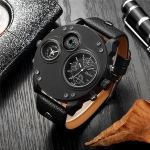 Image 1 - Oulm unikalne zegarki sportowe mężczyźni luksusowa marka dwie strefy czasowej zegarek dekoracyjny kompas męski zegarek kwarcowy relogio masculino
