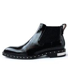 Ручной работы кожаные туфли мужские заклепки на гладкой кожи рукавами резинка прилив мужской Челси