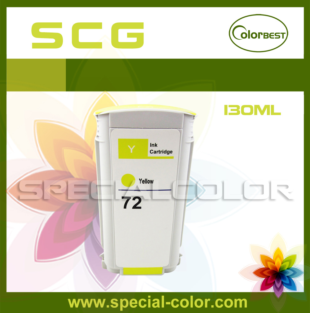 ФОТО Color Y 130ml Pigment Ink Compatible HP-72 Ink Cartridge with Chip for T610 T620 T770 T790 T1100 T1120 T1200 T1300