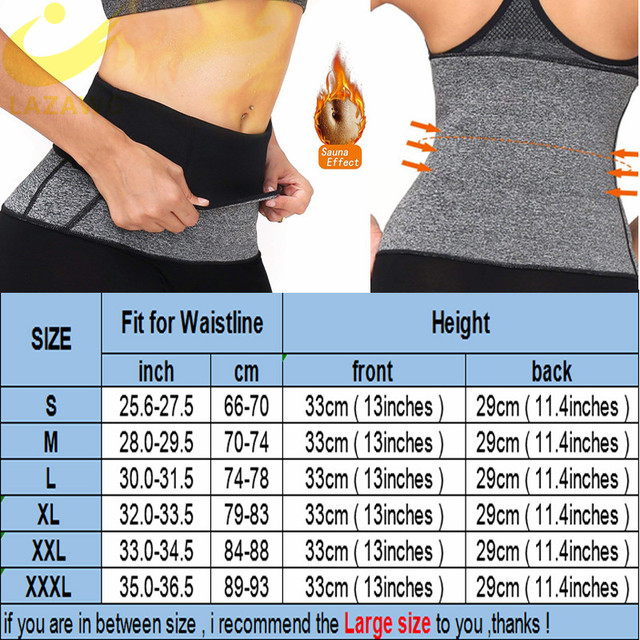 LAZAWG Women Waist Cincher Tummy Control Belt Hot Neoprene Sweat Girdle Waist Trimmer Slimming Body Shaper Modeling Strap Faja 5