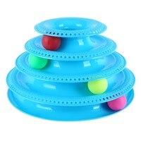 Пластиковые четыре уровня башня треков диск кошка игрушка для питомцев интеллект аттракционы полка игрушки для кошек тренировка развлечен...