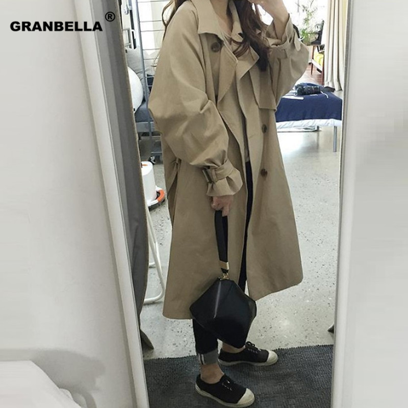 Korean Loose style big size double breasted women khaki   trench   coat high quality elegant spring autumn windbreaker outwear