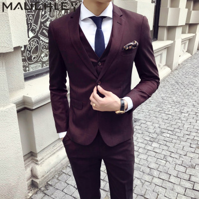 Mens Suits With Pants 3 Pieces Mens Burgundy Tuxedo Slim Fit Obscure Striped Formal Wedding Dress Prom Suits Two Buttons 2018