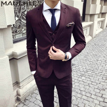 Mens Suits With Pants 3 Pieces Burgundy Tuxedo Slim Fit Obscure Striped Formal Wedding Dress Prom Two Buttons 2018