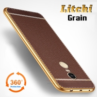 Litchi Lines Painting Case For Xiaomi Redmi Note 4 Note 4X Plating TPU Business Style Cover