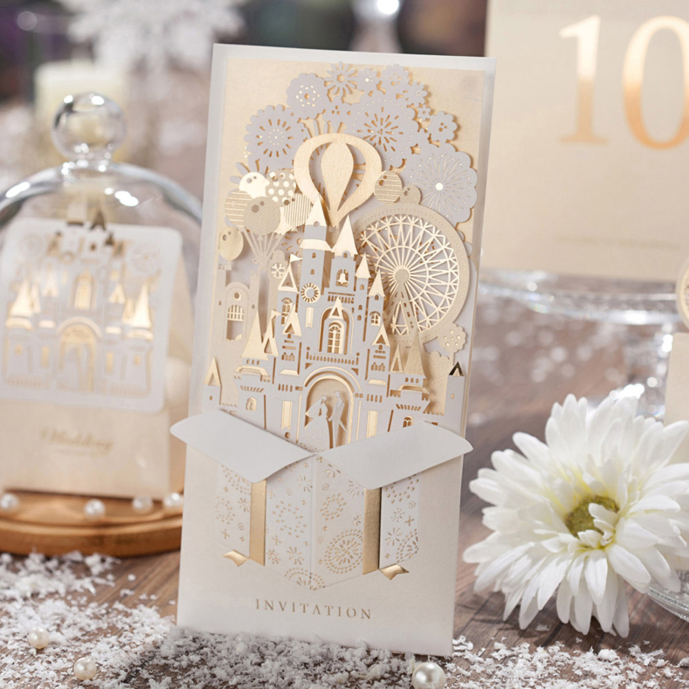 Wishmade 1pcs 3D Wedding Invitations Champagne Laser Cut Invites Cards Bride And Groom Castle Wedding Favors Casamento CW5093