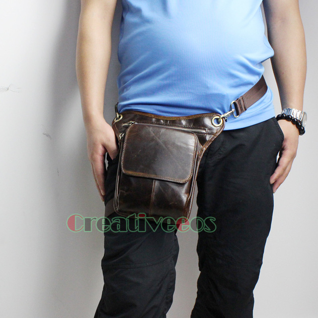 Men Oil Wax Genuine Leather Cowhide Travel Motorcycle Riding Messenger Shoulder Belt Fanny Pack Waist Thigh Drop Leg Bag