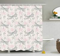 Dragonfly Shower Curtain, Shabby Chic Roses Worn Old Vintage Backdrop with Moth Bugs Print, Fabric Bathroom Decor Set with Hooks