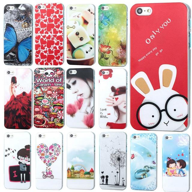 Nova chegada casos de telefone para apple iphone 4 4s engraçado colorido desenhos animados pintado caso pc duro de alta qualidade para trás casos
