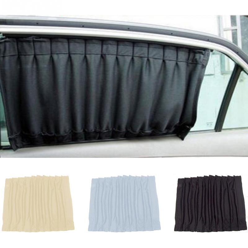 2018 2pcs Universal Car Sun Shade Side Window Curtain Foldable Sunshade UV Protection 70L BLACK COLOR sexy style jewel neck backless solid color long sleeve dress for women