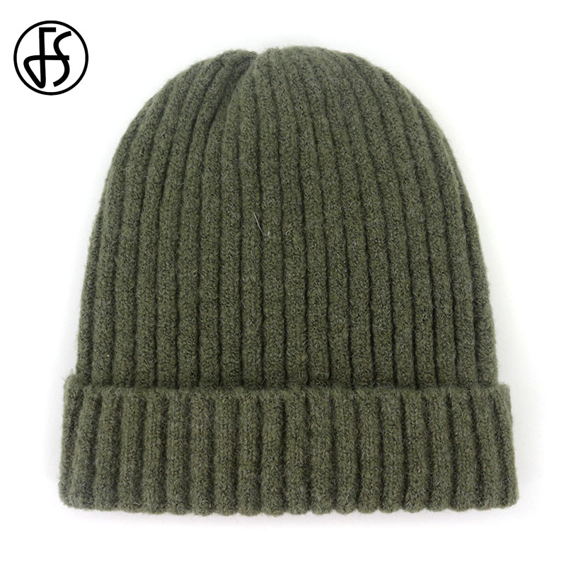 FS ArmyGreen Black Gray Thick Wool Knitted Hats   Skullies     Beanies   Flanging For Women Ladies Unisex Autumn Winter Warm Female Caps