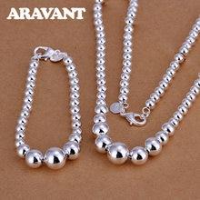 Conjuntos de joyería de plata 925 para mujer, pulseras de Cuentas grandes y pequeñas, collares y cadenas, nueva moda