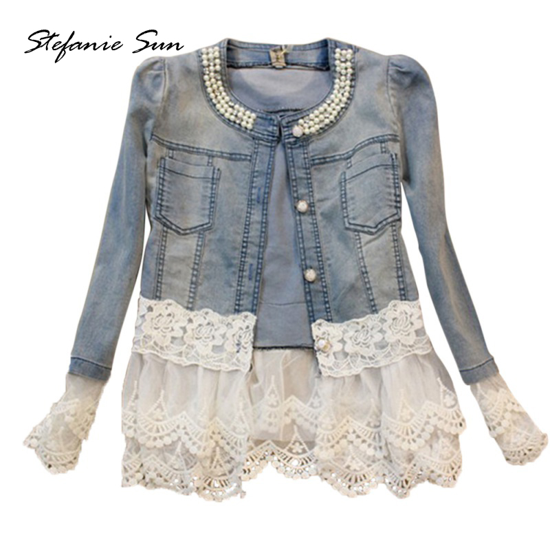 Autumn Denim Clothes Fashion Long Sleeve Neck With Pearls Lace Coat Outwear Slim Winter   Trench