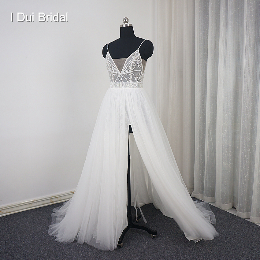 Spaghetti Strap Split Wedding Dress with Luxury Beading Tulle Layer Romantic