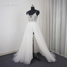 Spaghetti Strap Split Wedding Dress with Luxury Beading Tulle Layer Romantic(China)