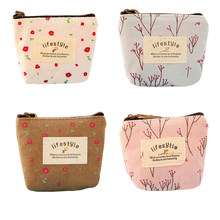 Newest Mini Floral Canvas Coin Cases Keys Bags Card Change Purse Zip Wallets(China)