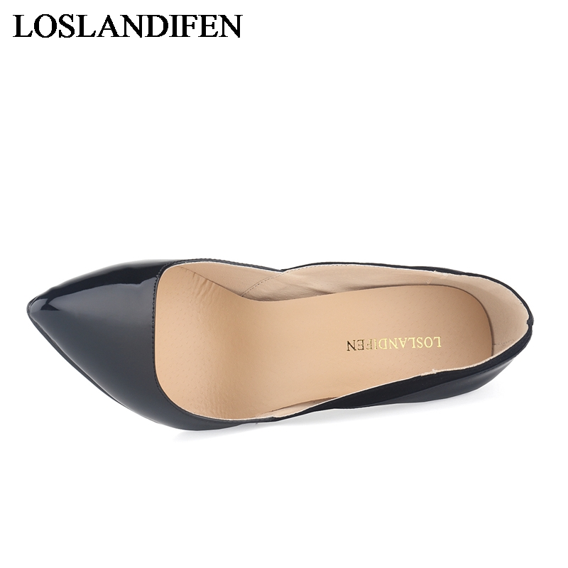 New Women 39 s Pu Leather Pointed Toe Thin High Heels Solid Shoes Woman Casual Office Spring Pumps Size 34 42 NLK C0130 in Women 39 s Pumps from Shoes