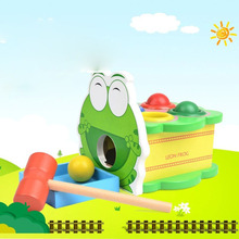 Mung Bean Frog Hitting The Table Childrens Tapping Beater Wooden Puzzle Hands-on Toy Educational Fun Toys