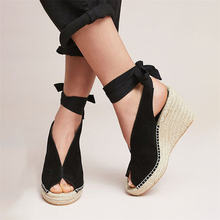 Suede Leather Women Sandals Shoes Weave Wedge Heels Peep Toe High Heels Platform Pumps Lace Up Bandage Girl Sandals(China)