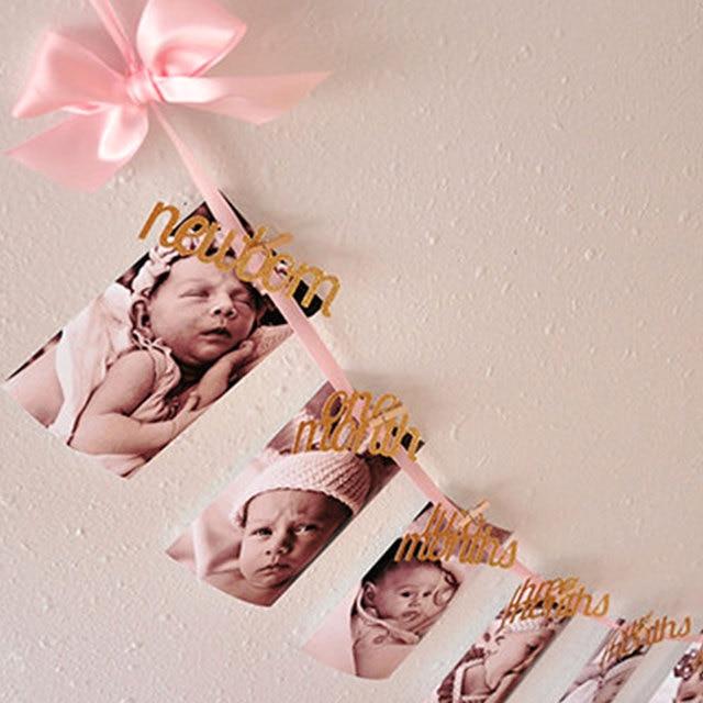 1 Set Maandelijkse Een Jaar Oud Baby Fotolijst Bunting Banner