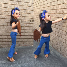 2019 hot sale fashion baby girls jeans Flares pants boot cut jean long trousers for kids girl2-7years old chidlrend jean clothes(China)