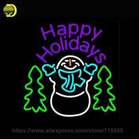 Roxo Feliz Natal Neve Homem Sinal de Néon Neon Tubo De Vidro lâmpada de néon luz de Recreação Casa janelas De Metal Quadro de Exposição do Sinal 24x24