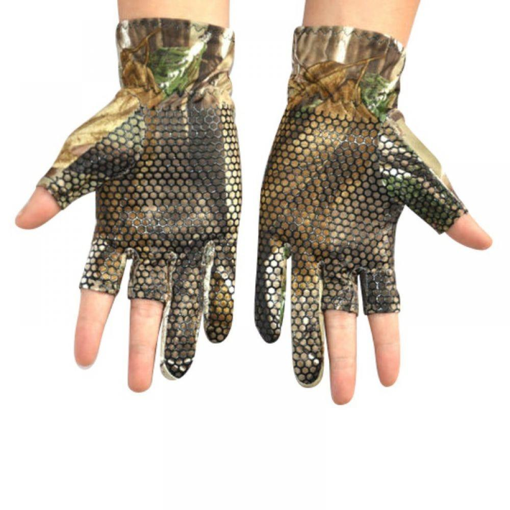 Gloves Fishing Glove Camouflage Riding Anti-slip Outdoor Gloves Comfortable 3  Camo Hunting Elastic Skidproof Cut-Finger