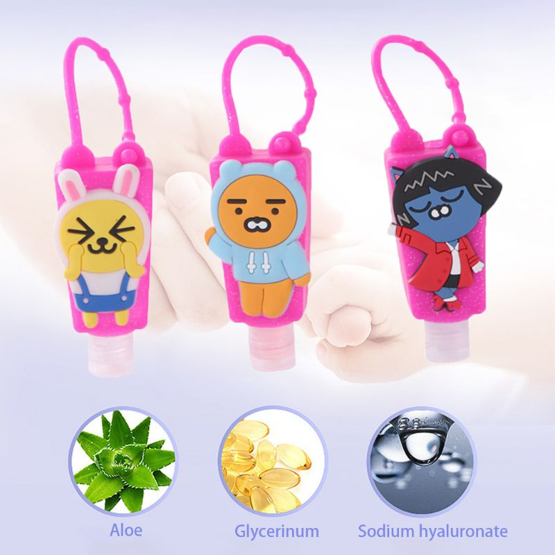 Cute Cartoon Silicone Animal Embossed Design Mini Hand Sanitizer Disposable No Clean Alcoho-Free Detachable Cover Travel Portabl