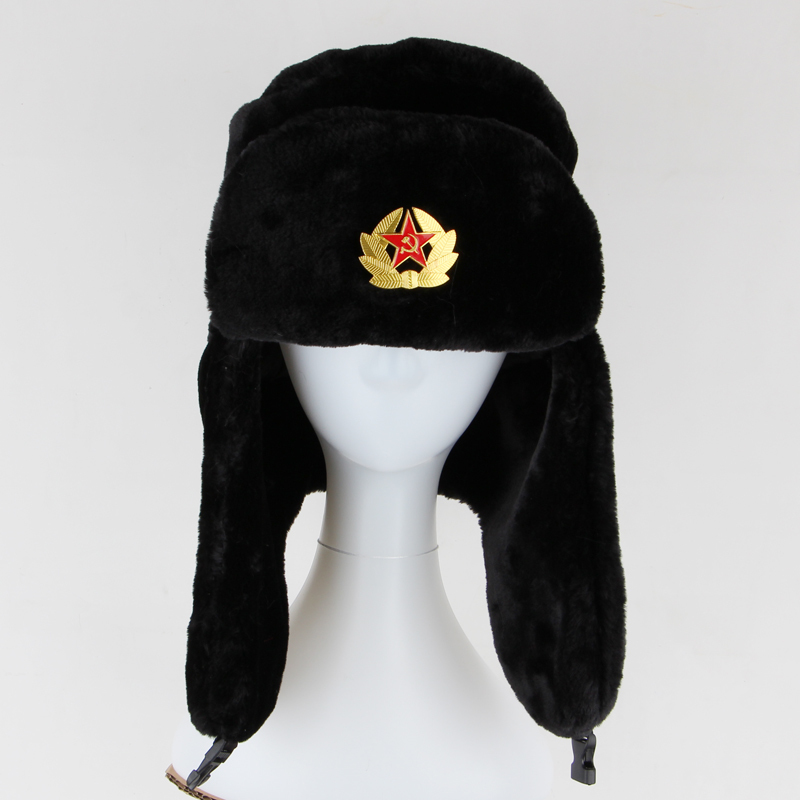 Men Ladies Russian Style Military Soviet Army KGB Fur Trapper Bomber Ear  Flap Winter Cossack Ushanka Hats Black-in Bomber Hats from Apparel  Accessories on ... 1191651580e
