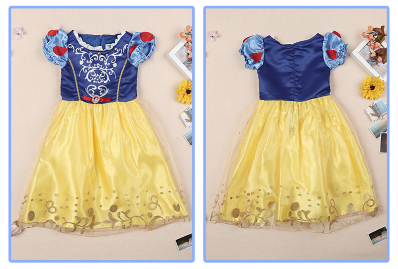 Image 5 - Girls Party Dress Kids Cinderella Snow White Halloween Costume Baby Girl Princess Dress Christmas Rapunzel Aurora Belle Dress-in Dresses from Mother & Kids