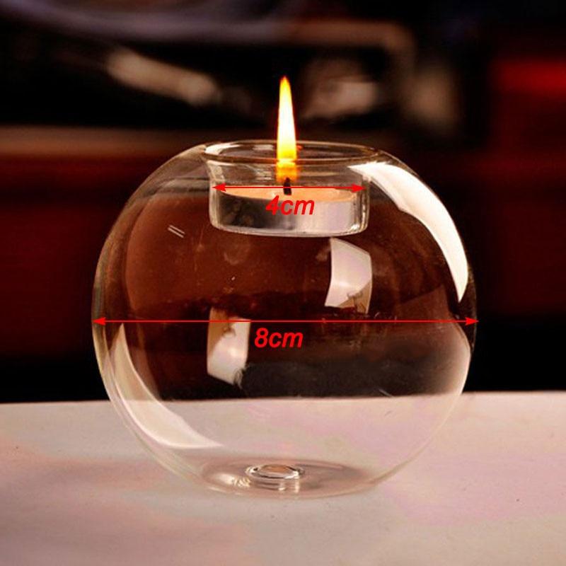 Blesiya 10Pcs 8cm Dia Glass Tea Light Candle Holder Wedding Cafe Shop Decor