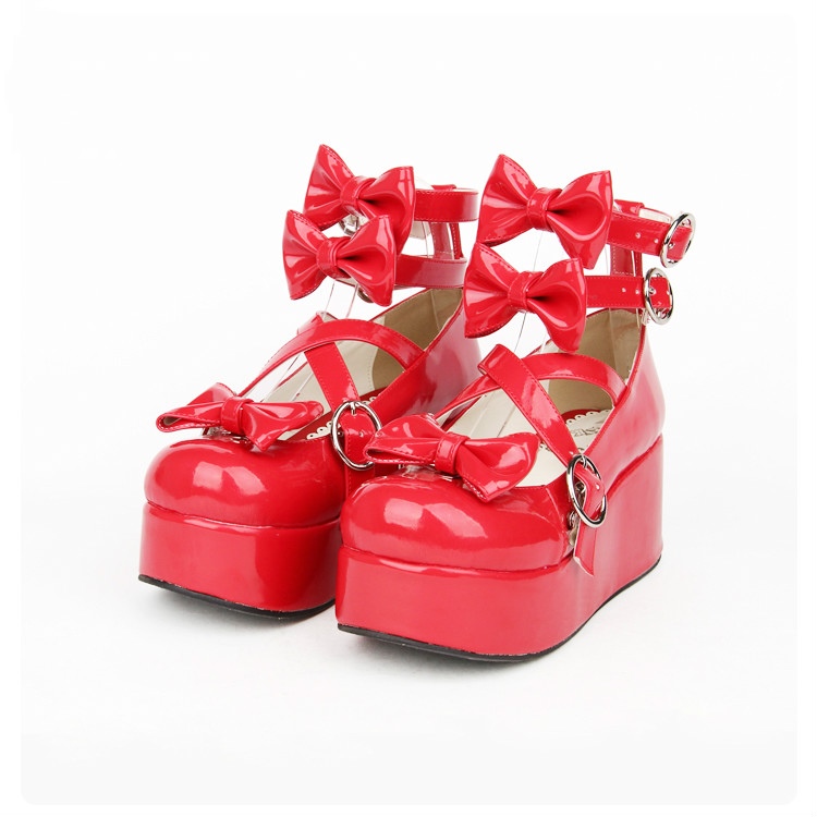 Princess sweet lolita shoes LOLITA shoes tied with muffin thick bottom lace cartoon shoes bow tie princess sweet women pu8178 кеды sweet shoes