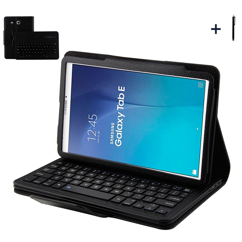 For Samsung Galaxy Tab E 9.6 Wireless Bluetooth Keyboard Case For Galaxy Tab E 9.6 T560 Tablet Flip Leather Stand Cover +Stylus luxury flip stand case for samsung galaxy tab 3 10 1 p5200 p5210 p5220 tablet 10 1 inch pu leather protective cover for tab3