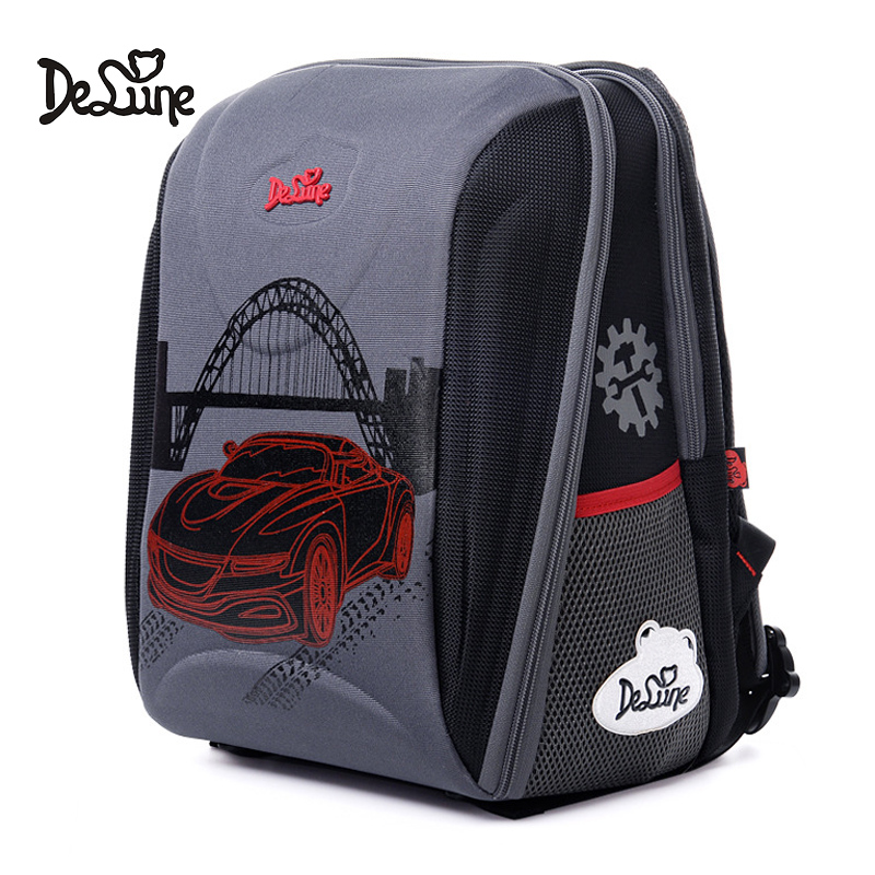 Delune Brand Car Pattern School Bags For Boys Large Multi-layer Backpack Cartoon Children Orthopedic Backpacks Mochila Infantil