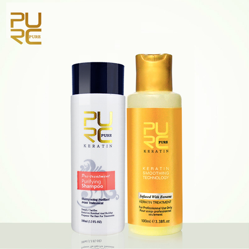 PURC 2pcs Set New Formula Banana Flavor Keratin Straightening Hair Treatment And Repair Damage Frizz Dry Hair Purifying Shampoo in Hair Scalp Treatments from Beauty Health