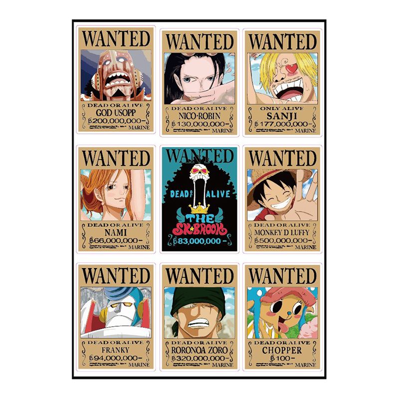 12pcs One Piece Monkey D Luffy Wanted Fixed Gear/Luggage/Guitar/Motor/Cars/Refrigerator Stickers 21*29cm Cute ONEPIECE Sticker