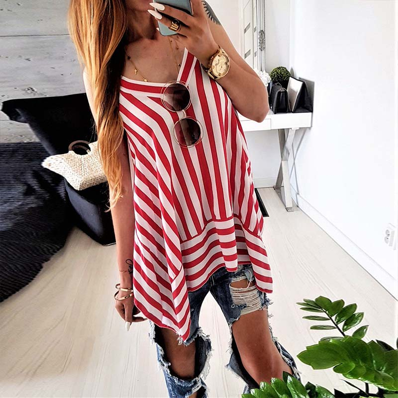 Women Deep V Neck Strappy Striped Camis Sexy Lady Crop Top Irregular Hem Club Tanks Tops Sleeveless Vest Casual Loose Tees