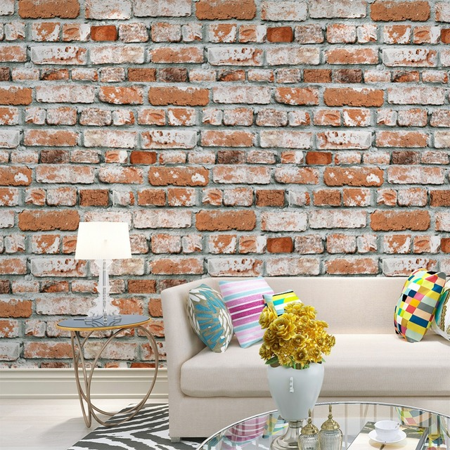 HaokHome Rustic Faux Brick Textured PVC Wallpaper 3D Orange Off White Grey Realistic Stone