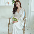 Vintage Princess Nightgown Women V Collar Lace Long Sleeved Elegant White Cotton Nightgown