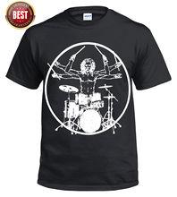 Vitruvian Drummer Funny Drumming T Shirt Drum Kit Stick  Music/Rock Top Tee New Shirts Tops free shipping
