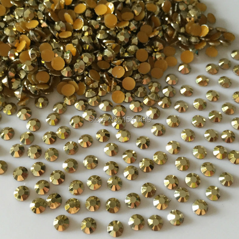 1000PCS/bag Nail art SS6 SS12 Ore gold Resin Rhinestone  2mm 3mm 14 Facets Local Tyrants Gold phone beauty is stick drill 23#