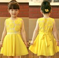 Fashion Girls 2014 New Summer Kids Korean Chiffon Princess Dress Veil Girl Sunflowers Dress Girl Yellow Party Dress